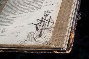 Lost Library of John Dee - Cicero - Opera omnia, vol. 2, ship drawing - copyright RCP and John Chase 800px